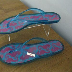 29d10717c LILLY PULITZER Sz 10 Pink Seahorse Flip Flops